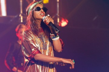 PARIS, FRANCE - FEBRUARY 26:  M.I.A. performs during the Etam Live Show Lingerie at Bourse du Commerce on February 26, 2013 in Paris, France.  (Photo by Bertrand Rindoff Petroff/French Select via Getty Images)